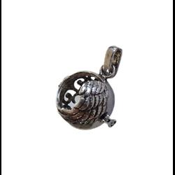 Cage à bola ailes en métal argenté 24x34mm