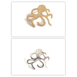 Breloque pieuvre en métal argenté / doré 15x13mm