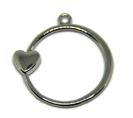 Breloque anneau et coeur en métal argenté 29x28mm