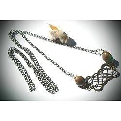 """Sautoir """"Cross Stitch"""", sautoir en métal bronze et perle de turquoise bleues et marron, collier en toute simplicité"""