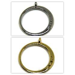 Pendentif anneau et ses connexions latérales en métal argenté ou doré 25x22mm