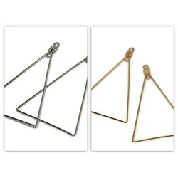 2 anneaux de créoles triangles - métal argenté ou doré 31x48mm