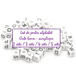 Perles alphabet cube 6mm - Set de 2 / 3 / 4 ou 5 alphabets complets (52/78/104/130 perles)