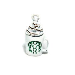 Breloque Capuccino de Starbucks C* en métal émaillé blanc et vert 21x12mm