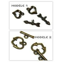 2 fermoirs toggle coeur en métal couleur bronze - 2 modèles
