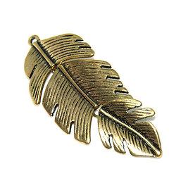 Grand pendentif plume mobile en métal couleur bronze 62x26mm