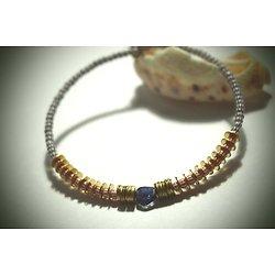 "Bracelet rigide ""Kinshasa blue"", bracelet ethnique et féminin"