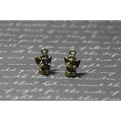 2 breloques ange sur socle en métal couleur bronze 7x10x16mm