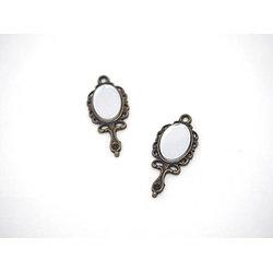 Breloque miroir en métal couleur bronze et miroir 31x19mm