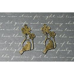 2 breloques oiseau sur sa branche et fleurs en métal couleur bronze 21x35mm