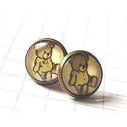 Adorables petites boucles d'oreille rondes en métal couleur bronze