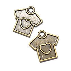 2 breloques t-shirt et coeur en métal couleur bronze 17x17mm
