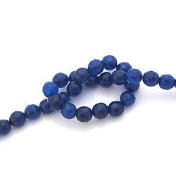 6 perles de jade bleu à facettes 6mm