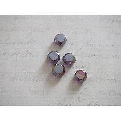 6 perles palets à facettes en cristal de Bohème mauve irisé 8x5mm