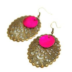 Boucles d'oreilles fantaisie bronze et nacre - Bijoux fantaisie - Bijoux rétro