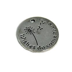"""Grande breloque ronde et gravure pissenlit """"Wishes do come true"""" en métal argenté 20mm"""