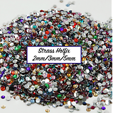 100 strass hotfix à facettes multicolores SS10 / SS16 / SS20