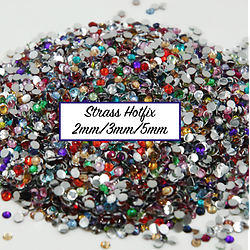 100 strass hotfix à facettes multicolores 2mm/3mm/5mm