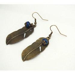 Boucles d'oreilles fantaisie bronze et pierre - Bijoux fantaisie - Bijoux rétro
