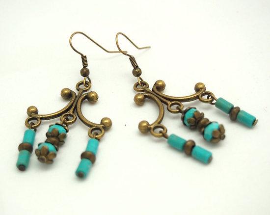 Boucles d'oreilles fantaisie bronze et turquoise - Bijoux fantaisie - Bijoux rétro