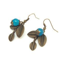 Boucles d'oreilles fantaisie bronze et pierre bleue - Bijoux fantaisie - Bijoux rétro