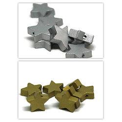 2 perles en bois étoile argentée / dorée 19mm