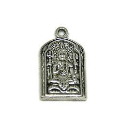 Grande breloque médaillon religieux bouddhiste - Bouddha assis en métal argenté 31x17.5mm