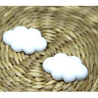 2 appliques nuage en résine matte blanche 25.5x17.5mm