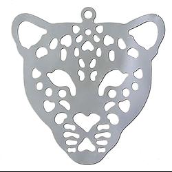 Grande breloque en filigrane tête de léopard en acier inoxydable 29.5x29.5mm
