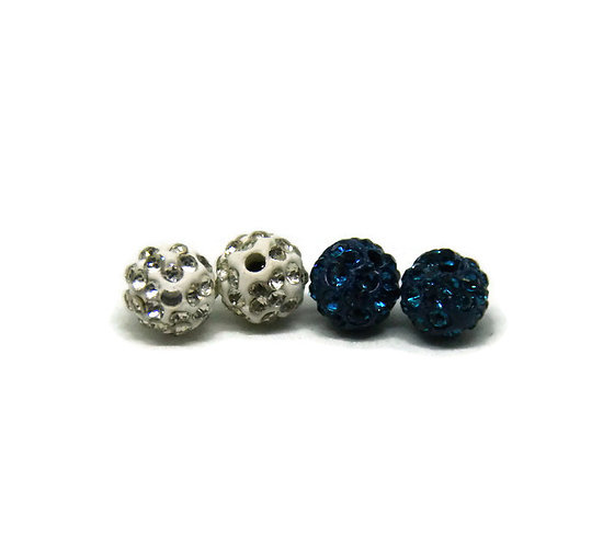 2 perles à strass 8mm