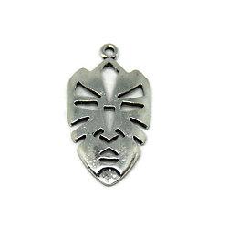 Grande breloque masque africain ajouré en métal argenté 37.5x19.5mm