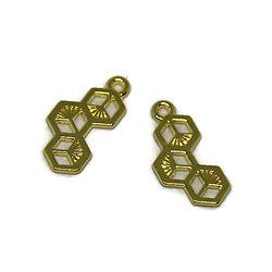 2 breloques alvéole en métal doré 23x11mm