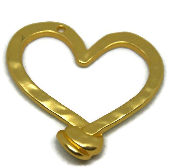 Grand pendentif coeur martelé en métal doré 49x48mm