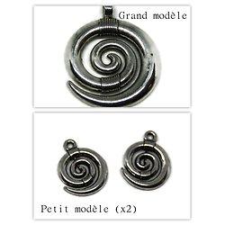 Breloque(s) spirale - Grand ou petit modèle en métal argenté