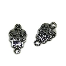 2 connecteurs tête de mort / cavalera mexicaine en métal argenté 23x12.5mm