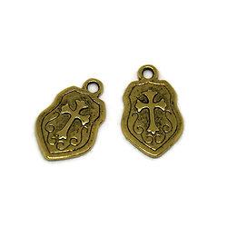 2 breloques bouclier de chevalier en métal doré 24x14.5mm