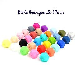 Perle hexagonale GF en silicone sans BPA 17x17mm