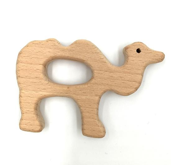 Anneau de dentition en bois naturel sans traitement chimique - chameau