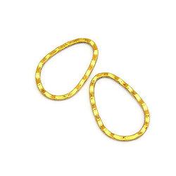 2 grands connecteurs ovales en métal doré vieilli 40x27mm