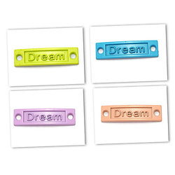 """Connecteur pour bracelet en métal peint """"DREAM"""" 35x9mm"""