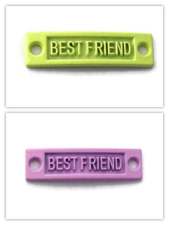 """Connecteur pour bracelet en métal peint """"Best Friend"""" 35x9mm"""