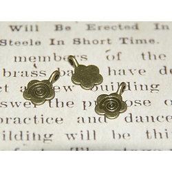 2 breloques fleur ou supports bélière en métal couleur bronze 15x11mm