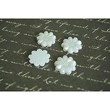 5 appliques fleurs blanc nacré en acrylique 13mm