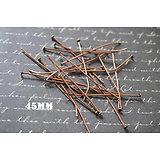 20 clous à tête plate en métal couleur cuivre 45mm
