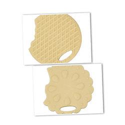 Anneau de dentition biscuit fleur croqué / gaufrette croquée 63x56mm / 65x59mm