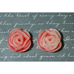 2 appliques rose en fleur en résine rouges et roses à paillettes 21mm