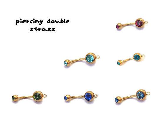 Piercing en acier inoxydable chirurgical doré et double strass 2,5cm