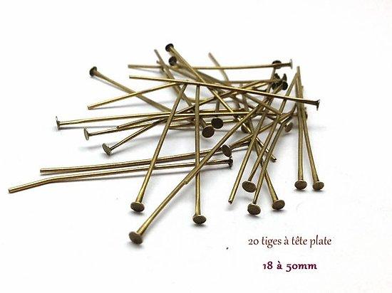 20 tiges /clous à tête plate en métal couleur bronze 18/20/22/24/26/30/35/40/50mm