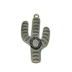 Grande breloque cactus et cabochon en métal argenté 79,5x42mm