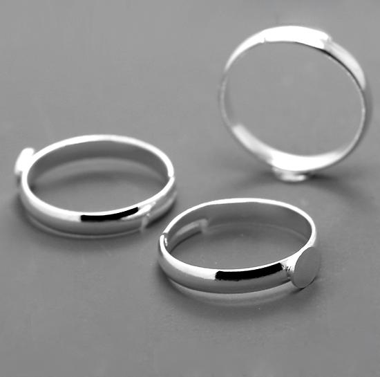2 supports bague à plateau en métal argenté réglables 18mm